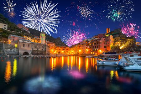 firework display: New Years firework display in Vernazza town, Italy Stock Photo
