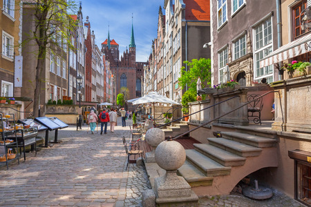 Architecture of Mariacki street in old town of Gdansk, Poland