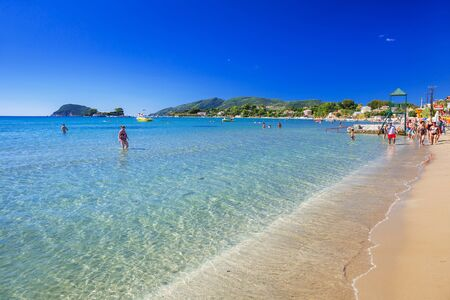 People on the beach of Laganas on Zakynthos island, Greece Stockfoto