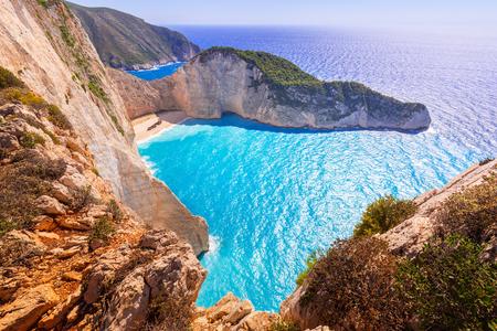 shipwreck: Beautiful Navagio Beach (Shipwreck Beach) on Zakynthos island, Greece Stock Photo