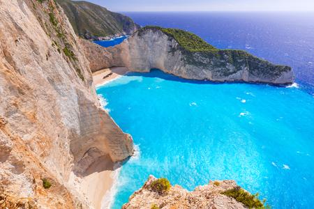 zakynthos: Beautiful Navagio Beach (Shipwreck Beach) on Zakynthos island, Greece Stock Photo