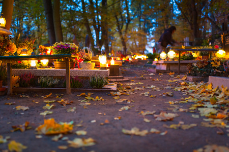 all saints day: Colourful candles on the cemetery on All Saints Day, Poland