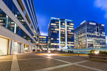 olivia: Modern buildings architecture of Olivia Business Centre in Gdansk, Poland Stock Photo