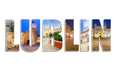 lublin: Lublin sign made by collage of photos Stock Photo