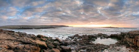 sea  ocean: Panorama of Atlantic ocean in Doolin at sunset