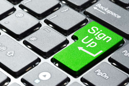 sign up button: Sign up button on computer keyboard Stock Photo