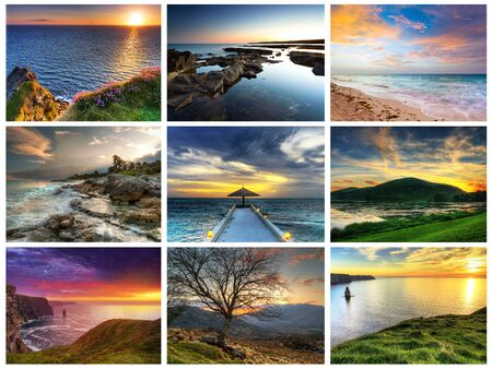 compilation: Perfect sunsets compilation Stock Photo