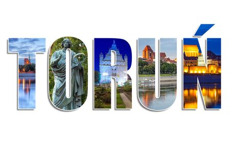 Torun sign made by collage of photos, Poland Stock Photo