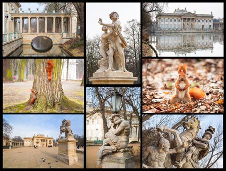 lazienki: Collage of Royal Baths Park in Warsaw, Poland