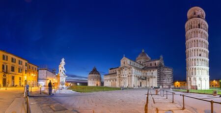 piazza dei miracoli: Panorama of Piazza dei Miracoli with Leaning Tower of Pisa, Italy Stock Photo