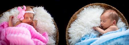 gemelos niÑo y niÑa: Bebé recién nacido y una niña gemelos de dormir dentro de las cestas de mimbre