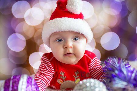 christmas costume: Baby boy in santa costume for Christmas
