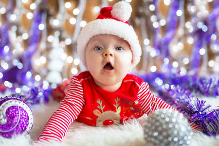 christmas costume: Baby boy in santa costume for Christmas