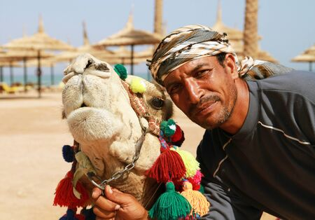 cartage: Bedouin and his camel portrait