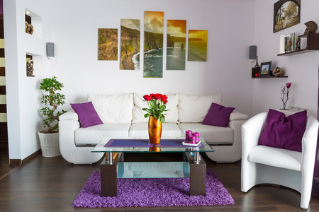 plant design: Modern living room interior Stock Photo