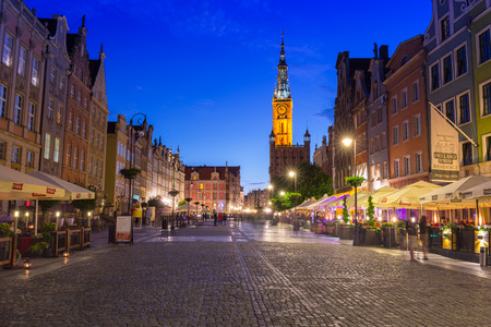 baroque architecture: GDANSK, POLAND - 21 JUNE 2016: Architecture of the Long Lane in Gdansk at night. Baroque architecture of the Long Lane is one of the most notable tourist attractions of the city. Editorial