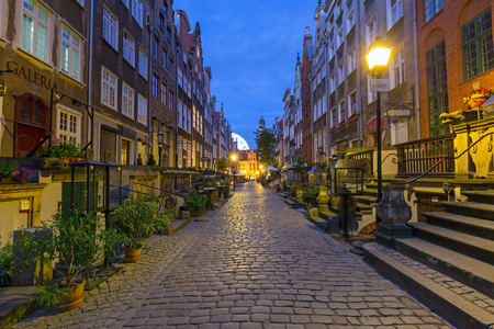 notable: GDANSK, POLAND - 21 JUNE 2016: Beautiful architecture of Mariacka (St. Mary) street in Gdansk at night. Baroque architecture of Mariacka street is one of the most notable tourist attractions in Gdansk