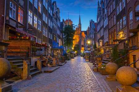 baroque architecture: GDANSK, POLAND - 21 JUNE 2016: Beautiful architecture of Mariacka (St. Mary) street in Gdansk at night. Baroque architecture of Mariacka street is one of the most notable tourist attractions in Gdansk