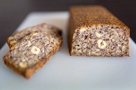 Homemade gluten free bread with seeds and nuts