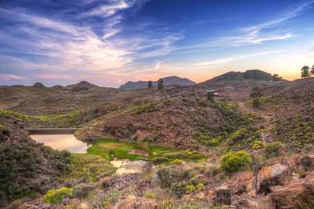Sunset in the mountains of Gran Canaria island, Spain Stock Photo