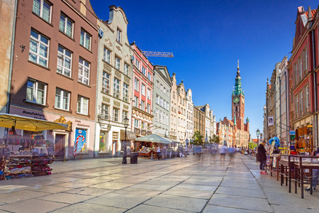 baroque architecture: GDANSK, POLAND - SEPTEMBER 8, 2016: The Long Lane street in old town of Gdansk, Poland. Baroque architecture of the Long Lane is one of the most notable tourist attractions of the city. Editorial