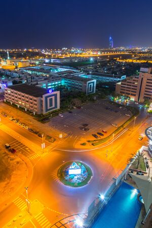 constraction: DUBAI, UAE - 3 APRIL 2014: Technology park in Dubai Internet City at dusk, UAE. Dubai Internet City is created by the government free economic zone for global information technology firms. Editorial