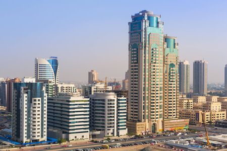DUBAI, UAE - MARCH 30, 2014: Technology park of Dubai Internet City at sunrise, UAE. Dubai Internet City is created by the government free economic zone for global information technology firms. Editorial