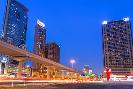 DUBAI, UAE - 3 APRIL 2014: Hotels of Dubai Internet City at dusk, UAE. Dubai Internet City is created by the government free economic zone for global information technology firms.