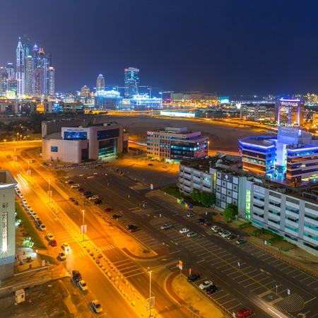 DUBAI, UAE - 3 APRIL 2014: Technology park in Dubai Internet City at dusk, UAE. Dubai Internet City is created by the government free economic zone for global information technology firms. Editorial