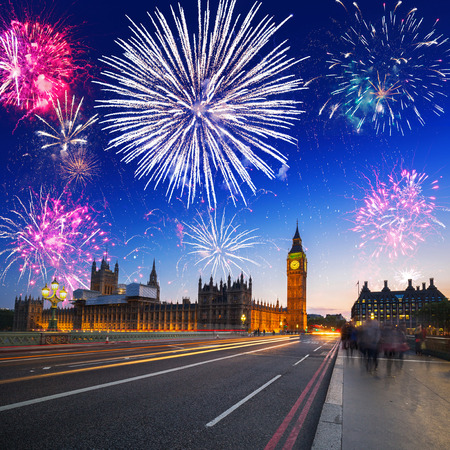 Fireworks display over the Big Ben and Westminster Bridge in London, UK