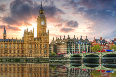 Big Ben and the Palace of Westminster in London at sunset, UK