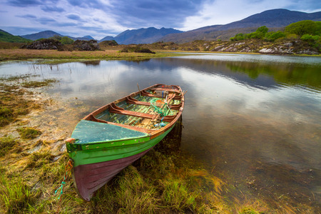 co kerry: Landscape with boat at the Killarney lake in Co. Kerry, Ireland