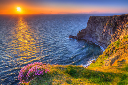 Cliffs of Moher at sunset in Co. Clare, Ireland Stock Photo