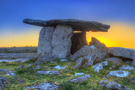 Poulnabrone portal tomb in Burren at sunrise, Ireland Stock Photo