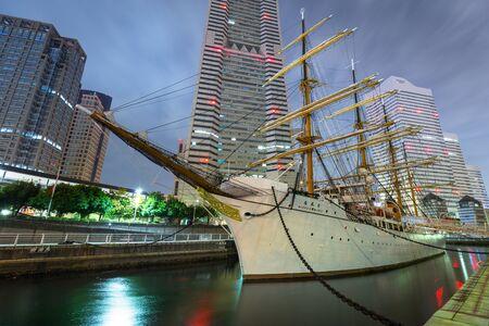 YOKOHAMA, JAPAN - NOVEMBER 6, 2016 : Nippon Maru sailing ship in Yokohama at night, Japan. Nippon Maru was built in 1930 as a training ship for the cadets of Japanese merchant marine. Editorial