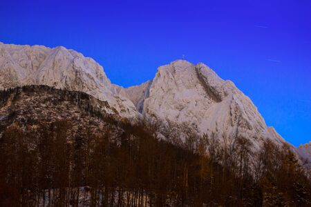giewont: Mount Giewont in Tatra mountains at night. Silhouette of sleeping knight. Stock Photo