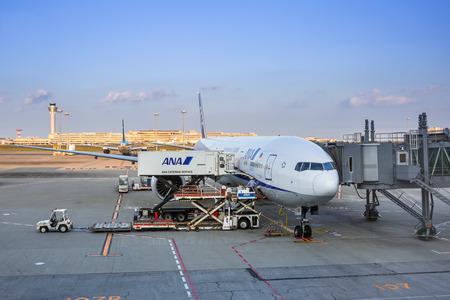 TOKYO, JAPAN - NOVEMBER 6, 2016: Air Nippon Airways (ANA) plane at Tokyo Haneda Airport, Japan. Haneda is an international airport of Tokyo and primary base of two major domestic airlines. Editorial