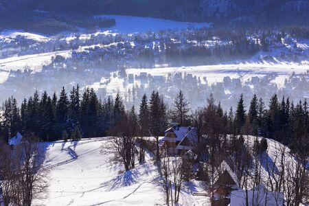 giewont: Zakopane at Tatra mountains in winter time, Poland Stock Photo