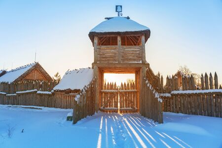 antique factory: Ancient trading factory village at winter in Pruszcz Gdanski, Poland