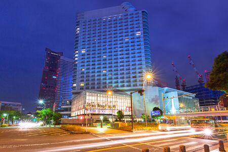 YOKOHAMA, JAPAN - NOVEMBER 6, 2016 : Architecture of Minato Mirai 21 district in Yokohama at night, Japan. Yokohama is the second largest city in Japan by population and most populous municipality.