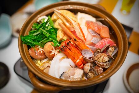Japanese raw seafood for fresh soup
