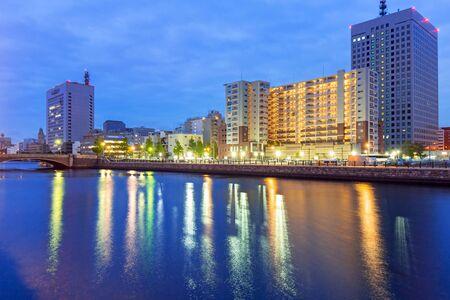 Cityscape of Yokohama city at night, Japan