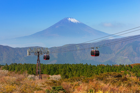 Kabelbaan naar de berg Fuji. Een actieve vulkaan en de hoogste berg in Japan