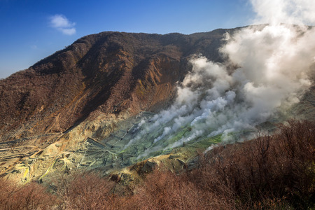 富士火山大涌谷のアクティブな硫黄孔