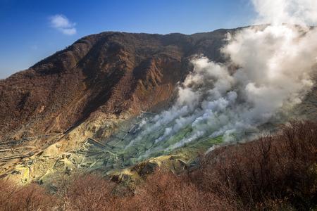 일본 Fuji 화산에서 Owakudani의 활성 유황 환기구 스톡 콘텐츠