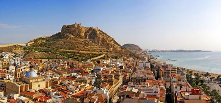 Alicante city and Castillo de Santa Barbara in sunny day, Spain Stock Photo