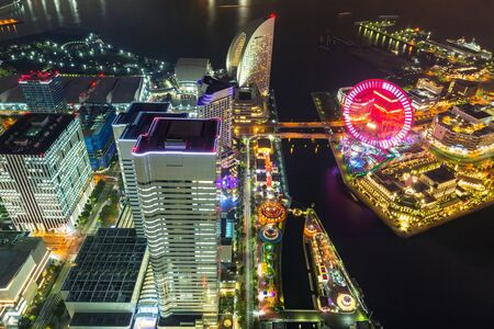 Aerial view of Yokohama city at night, Japan