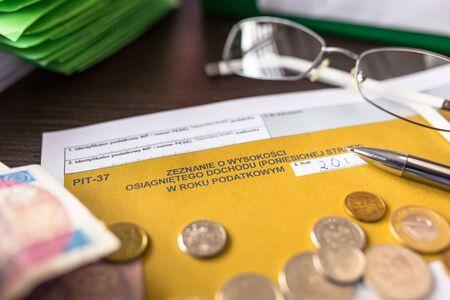 Polish tax form PIT-37 for individual tax return