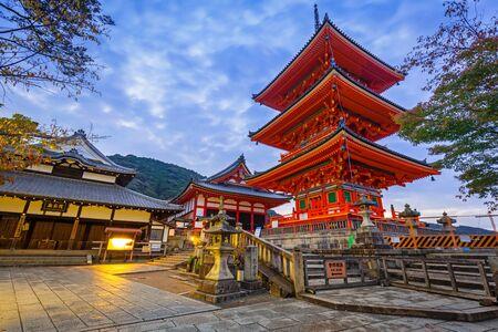 KYOTO, JAPAN - NOVEMBER 9, 2016: Kiyomizu-Dera Buddhist temple in Kyoto at dawn, Japan. Kiyomizu-dera built in 1633, is one of the most famous landmark of Kyoto with UNESCO World Heritage Editorial