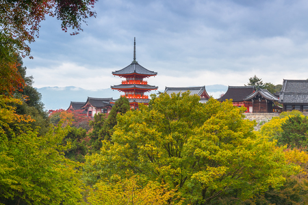 Kiyomizu-Dera Buddhist temple in Kyoto during autumn season, Japan Stock Photo
